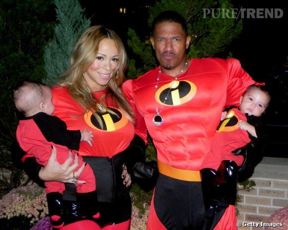 Mariah Carey et son mari Nick Cannon accompagnés de leurs enfants Monroe et Moroccan en 2011.