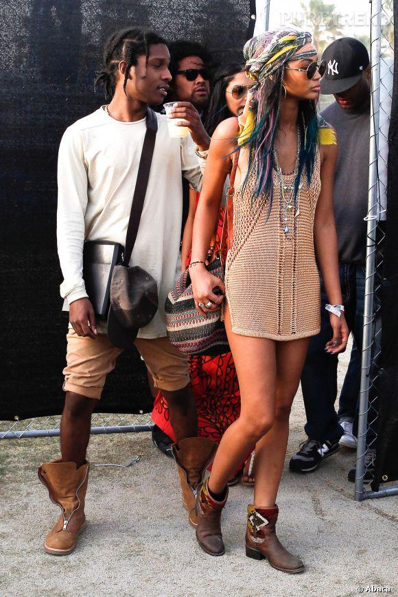 ASAP Roky et Chanel Iman lors du premier week-end de Coachella à Indio en avril 2014.