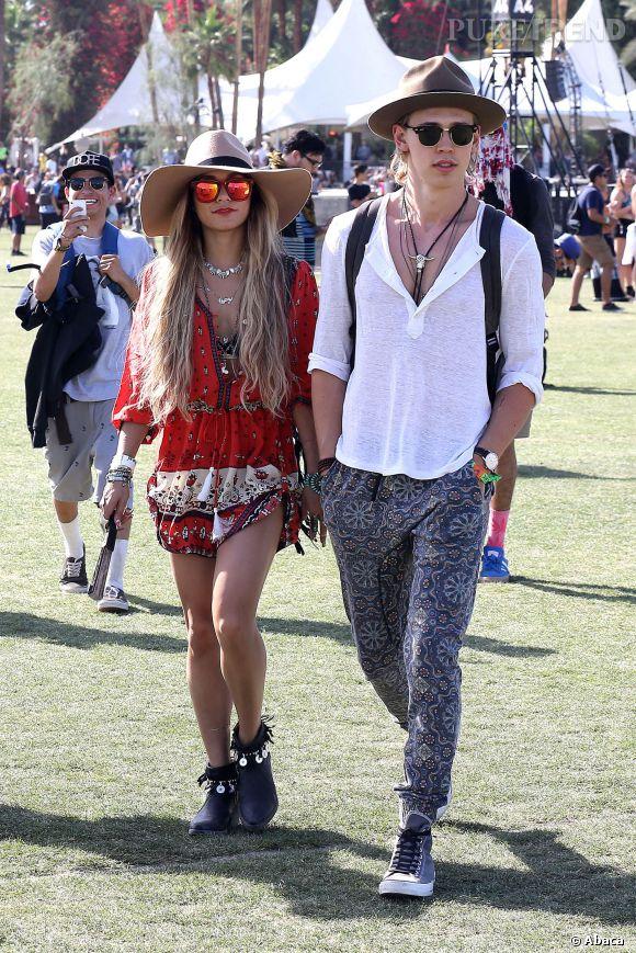 Vanessa Hudgens et Austin Butler lors du premier week-end de Coachella à Indio en avril 2014.
