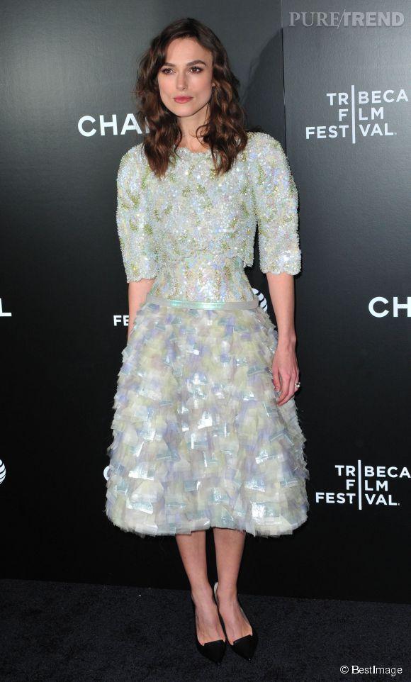 Keira Knightley, éblouissante et audacieuse sur le tapis rouge du Tribeca Film Festival à New York, le 26 avril 2014.