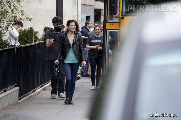 Les people passent le bac sur NRJ 12, dès le 27 mai 2014 avec Delphine Chanéac partcipante du premier rendez-vous, ici sur le tournage de l'émission.