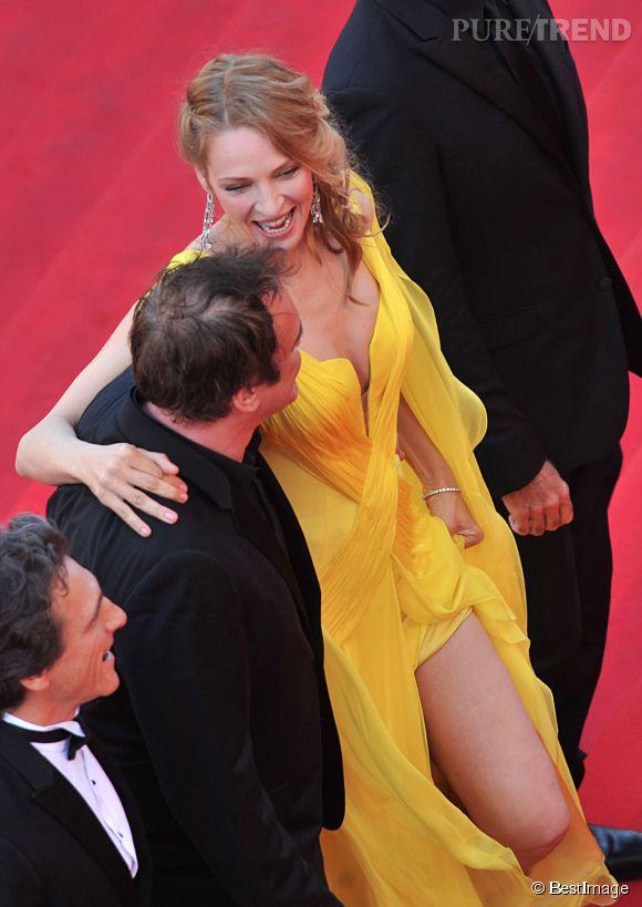 Uma Thurman, ultra-sexy pour la montée des marches de Pulp Fiction vendredi 23 mai 2014.