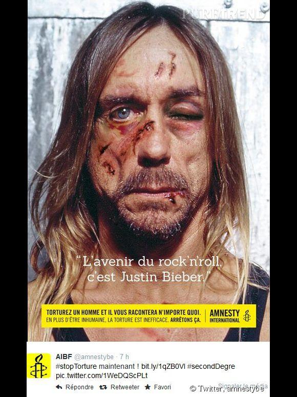 Iggy Pop, le visage défiguré, fait l'apologie du jeune chanteur Justin Bieber.
