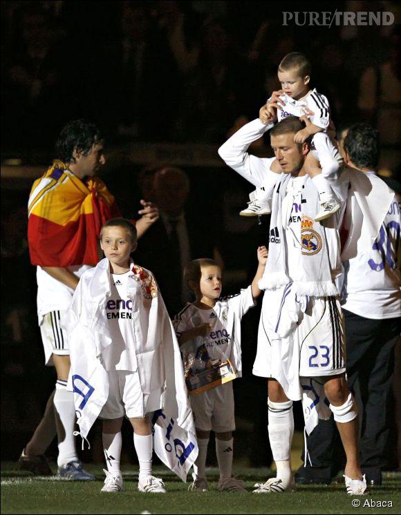 David Beckham et ses fils Brooklyn, Romeo et Cruz en 2007.