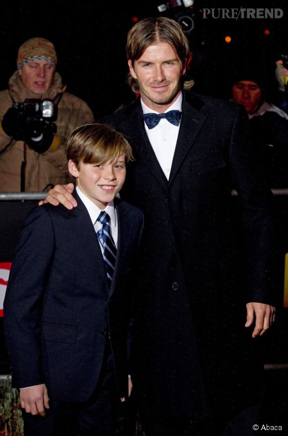 David Beckham et son fils Brooklyn en 2010.