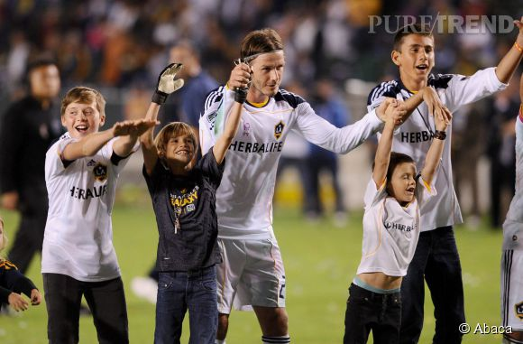 David Beckham et ses fils Brooklyn, Romeo et Cruz en 2011.