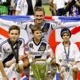 David Beckham et ses fils Brooklyn, Cruz et Romeo en 2012.