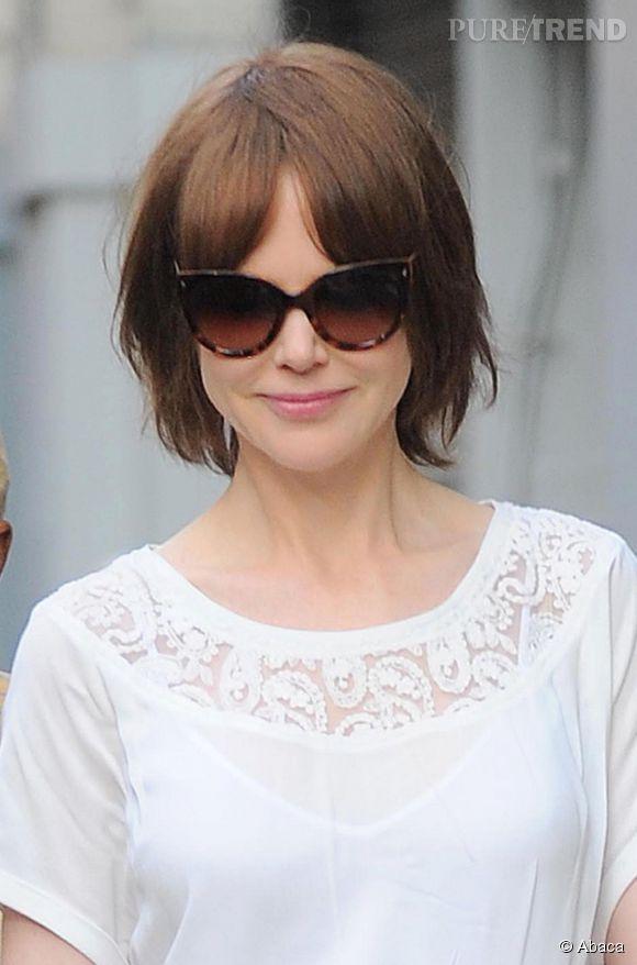 """Nicole Kidman et sa nouvelle coiffure sur le tournage du film """"The Family Fang""""."""