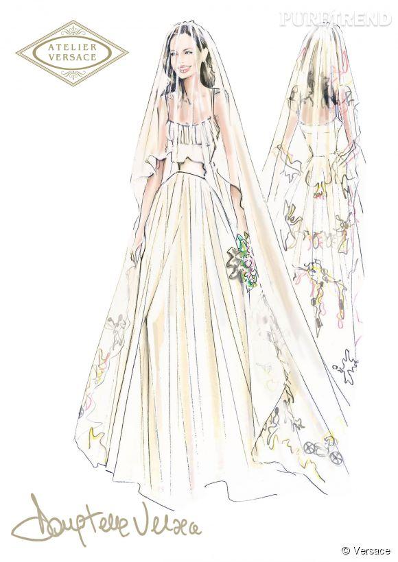 """Le croquis de la robe de mariée d'Angelina Jolie, accompagnée d'un mot de Donatella Versace : """"Beauté, élégance et intelligence. C'est tout à fait toi Angelina. Je vous souhaite à toi et à ta merveilleuse famille tout le bonheur du monde. Amitié, DV"""""""