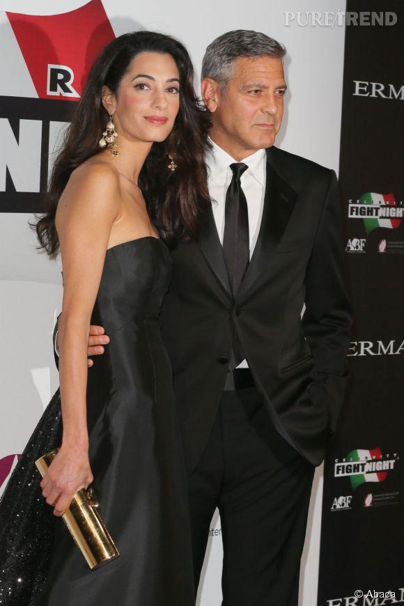 George Clooney et sa fiancée Amal Alamuddin ont fait leur première apparition officielle dimanche soir, à Florence.
