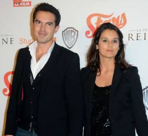 Faustine Bollaert et son compagnon, l'écrivain Maxime Maxime Chattam, sur tapis rouge.
