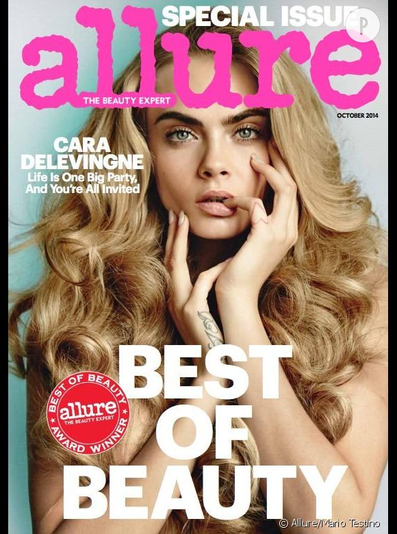 Cara Delevingne en couverture du numéro d'octobre 2014 du magazine Allure.