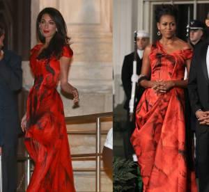 Amal Alamuddin vs Michelle Obama : la robe de bal Alexander McQueen