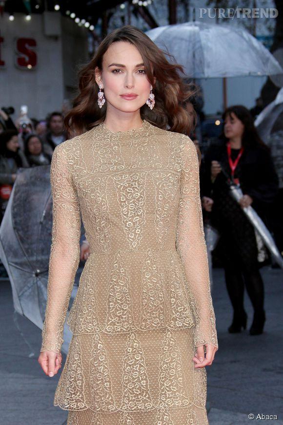 """Keira Knightley, élégance et romantisme au London Film Festival et première de """"The Imitation Game"""", le 8 octobre 2014."""