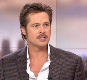 Brad Pitt sur le plateau de Laurent Delahousse, dans son JT de France 2 ce dimanche 19 octobre 2014.