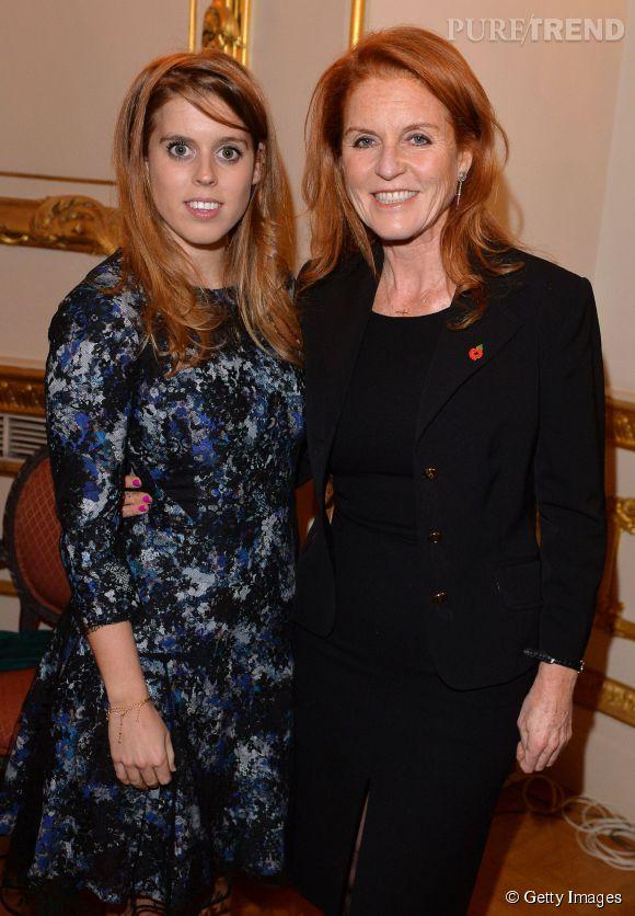 La princesse Béatrice d'York et sa mère, Sarah Ferguson, hier soir lors d'un dîner de charité organisé à Londres.