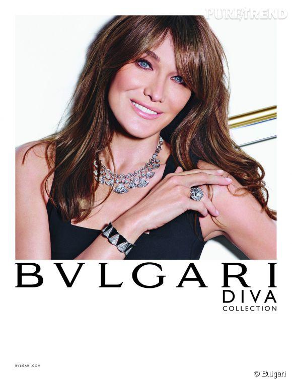 Carla Bruni égérie de Bulgari pour la nouvelle campagne de la griffe.