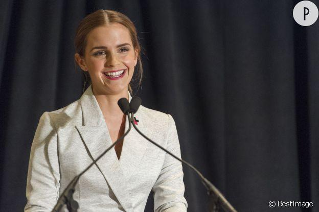 """Emma Watson a fait un discours en faveur du féminisme et de la lutte pour l'égalité des sexes, dans le cadre de la campagne """"He For She"""" à la tribune de l'ONU à New York."""