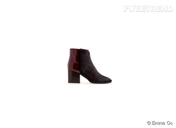 Emma Go    Boots en cuir et poulain, 200€.