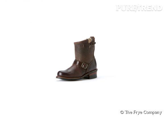The Frye Company    Bottes Engineer en cuir et fourrure de lapin, 428€.