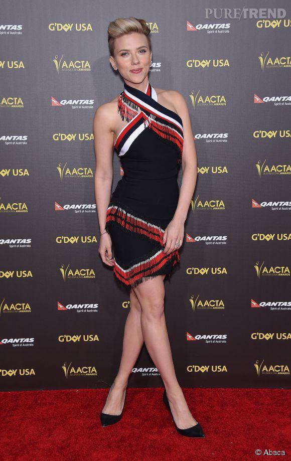 Scarlett Johansson samedi soir sur le tapis rouge du G'Day USA Gala à Los Angeles.