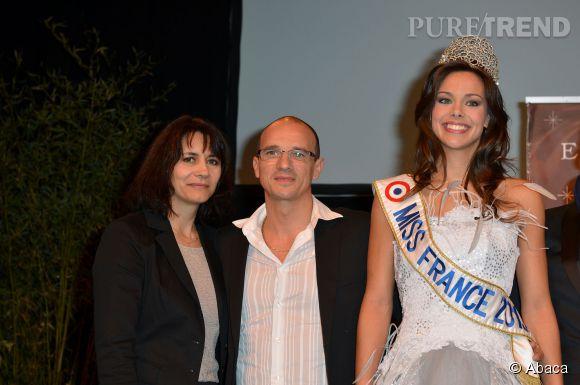 Marine Lorphelin au moment de son élection fin 2012 avec ses parents.