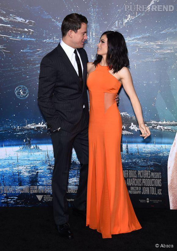 """Channing Tatum et Jenna Dewan très complices à la première de """"Jupiter ascending"""" le 2 février 2015 à Los Angeles."""