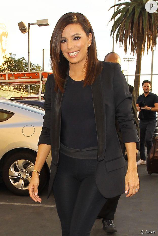 Eva Longoria, en noir de la tête aux pieds pour aller chez Jimmy Kimmel.