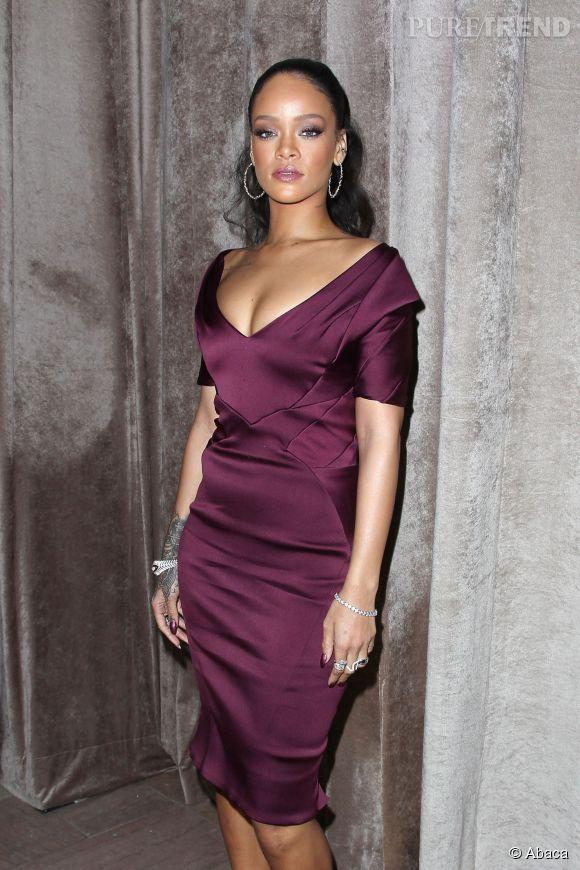 Rihanna au défilé Zac Posen Automne-Hiver 2015/2016 le 16 février 2015 à New York.