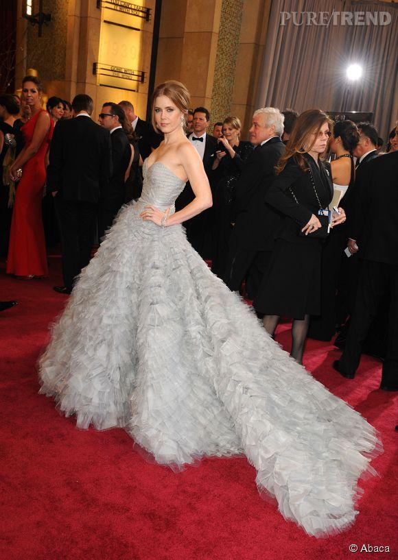 Amy Adams en Oscar de la Renta lors des Oscars 2013.