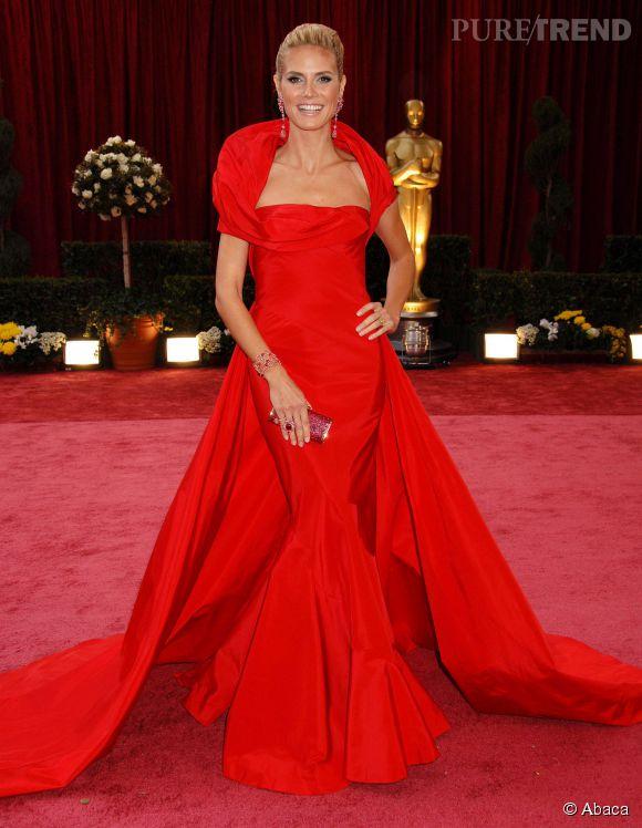 Heidi Klum en Dior Couture lors des Oscars 2008.