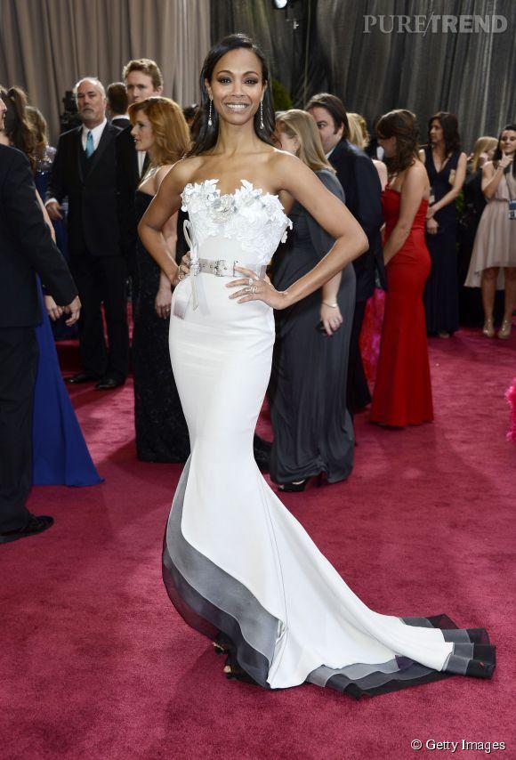Zoe Saldana en Alexis Mabille Couture lors des Oscars 2013.