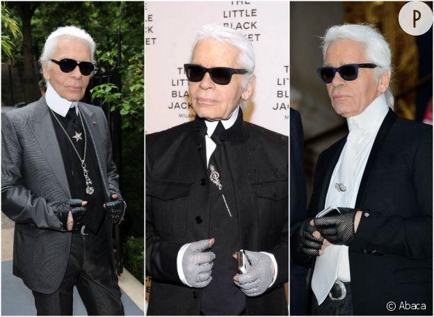 Karl Lagerfeld et ses mitaines