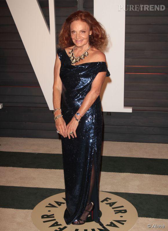 Diane von Furstenberg lors de la soirée post Oscars organisée par  Vanity Fair  le 22 février 2015 à Los Angeles.