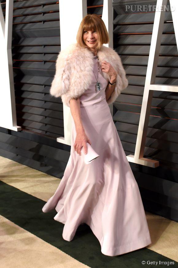 Anna Wintour lors de la soirée post Oscars organisée par  Vanity Fair  le 22 février 2015 à Los Angeles.