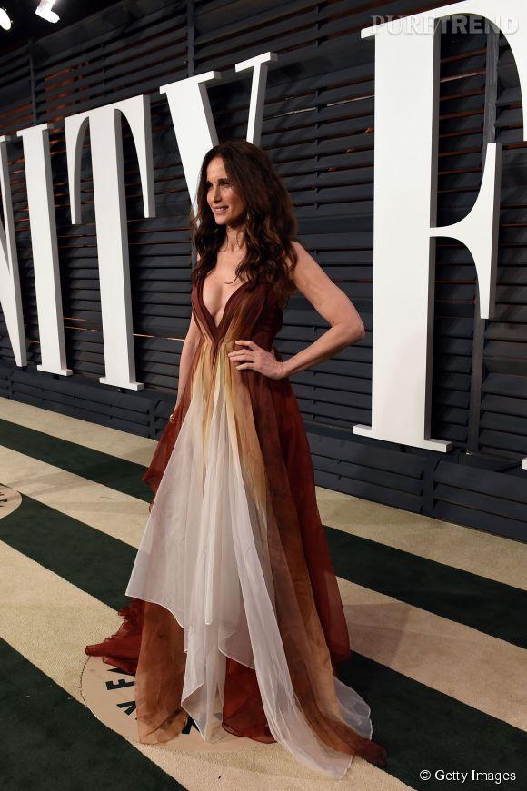Andie MacDowell lors de la soirée post Oscars organisée par  Vanity Fair  le 22 février 2015 à Los Angeles.
