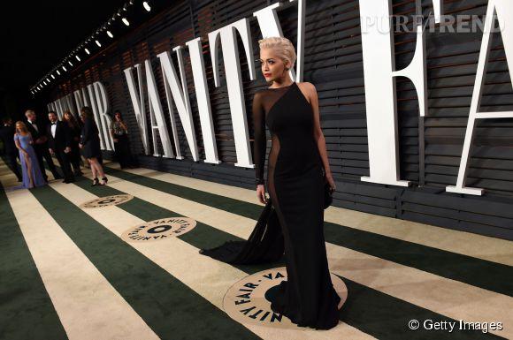 Rita Ora en Donna Karan lors de la soirée post Oscars organisée par  Vanity Fair  le 22 février 2015 à Los Angeles.