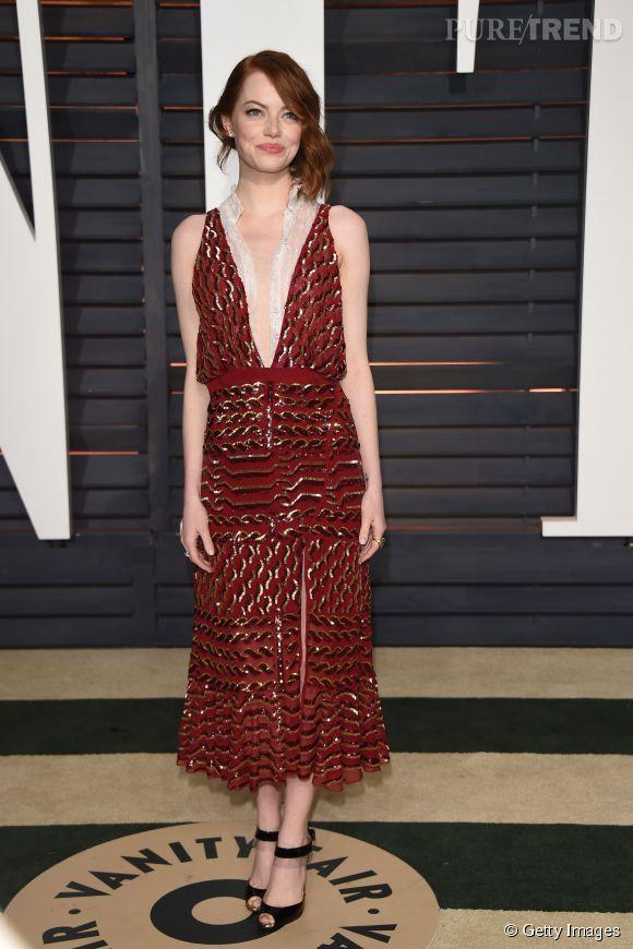 Emma Stone en Altuzarra lors de la soirée post Oscars organisée par  Vanity Fair  le 22 février 2015 à Los Angeles.