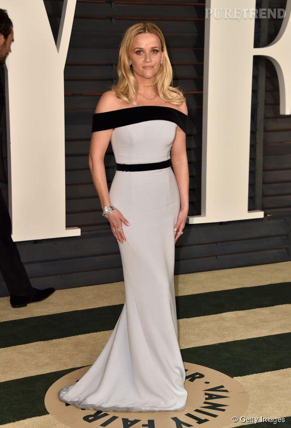 Reese Witherspoon en Tom Ford et bijoux Tiffany & Co. lors de la soirée post Oscars organisée par Vanity Fair le 22 février 2015 à Los Angeles.