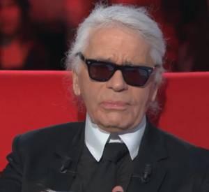 Karl Lagerfeld parlait de hiérarchie sur le divan de Marc-Olivier Fogiel, ce mardi 24 février 2015 sur France 3.