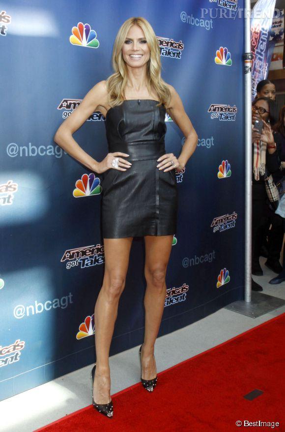 """Heidi Klum, canon en robe bustier hier pour la soirée """"America's Got Talent""""."""