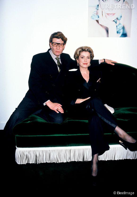 Catherine Deneuve et Yves Saint Laurent (ici en 1992), une amitié où se nouaient timidité et admiration.