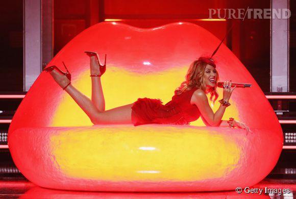 Kylie Minogue n'a pas lésiné sur les moyens pour faire plaisir à son public, vendredi 20 mars 2015 à Sydney!