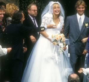 Estelle Lefébure et David Hallyday, le jour de leur mariage le 15 septembre 1989.