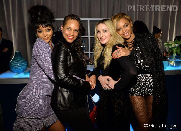 Rihanna, Alicia Keys, Madonna et Beyoncé réunies la conférence de presse de Tidal à New York le 30 mars 2015.