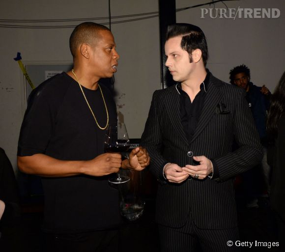 Jay Z et Jack White à la conférence de presse de Tidal à New York le 30 mars 2015.