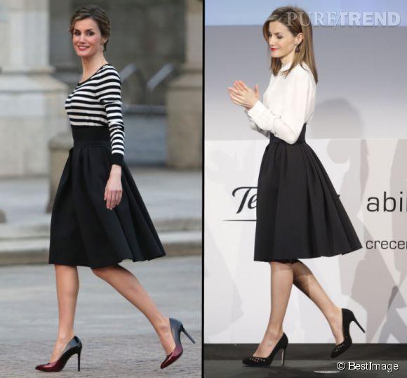A gauche, la reine d'Espagne dans une jupe noire taille haute pour une remise de médaille, en février 2015. Quelques semaines auparavant, Letizia la portait avec une chemise blanche pour la remise du prix Telefonica, le 12 janvier.