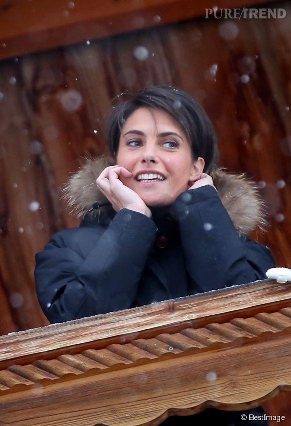 Alessandra Subet, plus maquillée qu'à l'accoutumée mais vraiment très belle à l'Alpe d'Huez en janvier 2015.