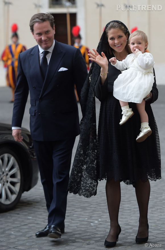 Madeleine de Suède a rendu visite au pape avec son mari et sa fille de 14 mois, Leonore.