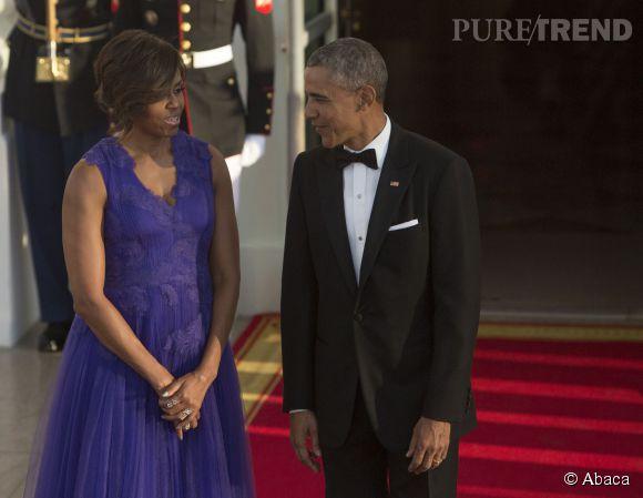 Michelle Obama a misé sur la robe de bal violette pour le dîner d'Etat en l'honneur du Premier ministre japonais.
